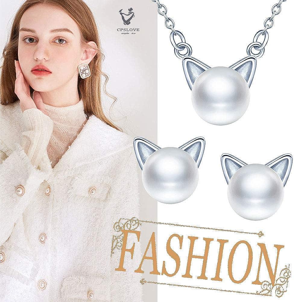 regalo de cumplea/ños de Navidad y de San Valent/ín CPSLOVE Juegos de joyas de perlas para mujer Collar de perlas de gato y Pendientes de gato de plata 925