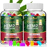 (2 Pack) Hemp Gummies 60,000mg - 100% Natural Hemp Oil Infused Gummies 60ct for Anxiety, Stress Relief