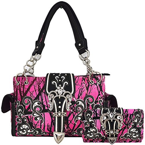 Camouflage-Kronen-Schnalle, Western-Stil, versteckte Tragetasche, Landhaus-Handtasche, Damen-Schultertasche, Geldbörsen-Set, Pink (rose), Large