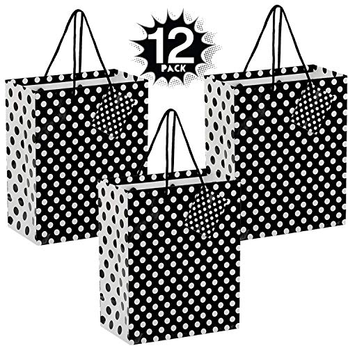 New Kicko Midnight Black Dot Gift Bags - 12 Pack - 9 Inches - for Party Favors, New Moms, Clothing, ...