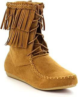 Forever Candice-22 Women's Sassy Two Layer Fringe Moccasin Ankle Booties