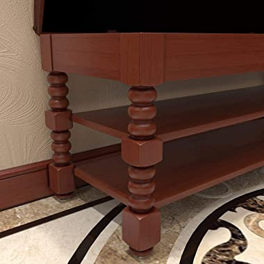 KASLANDI Shoe Bench, Solid Wood Shoe Storage Bench Entryway with Lift Top, 3-Tier Vintage Shoe Rack Bench with Seating Tufted