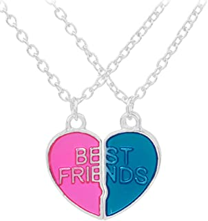 Greendou Best Friend Necklaces Alloy Engraved Broken Heart Friendship Pendants (2 piece set) for Girl and Boy Best Friend Gifts