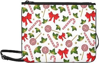 Christmas Candy Cane Cute Decorated Bow Pattern Custom High-grade Nylon Slim Clutch Bag Cross-body Bag Shoulder Bag