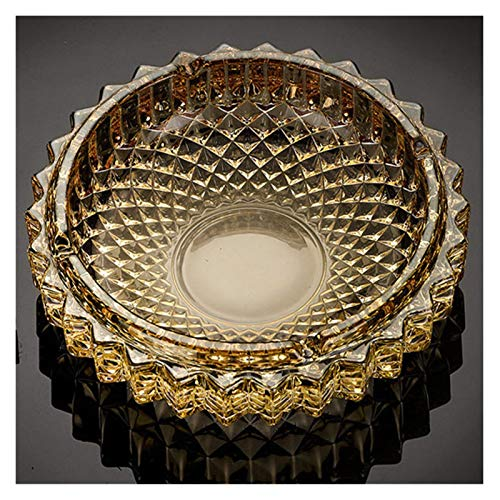Sdvklly 1 unids Diámetro Redondo 130/170 / 197mm Gold/Clear/Amber Golden Crystal Cenicero High-Grade Refinado Oficina Creativa Cenicero (Color : Golden 197mm)