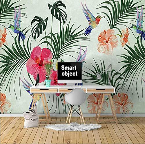 MMNEB Pintado a mano Acuarela Tropical Leaf BirdPapel3dPapel pintado decorativo para Walla Mejoras para el hogar-150X120CM