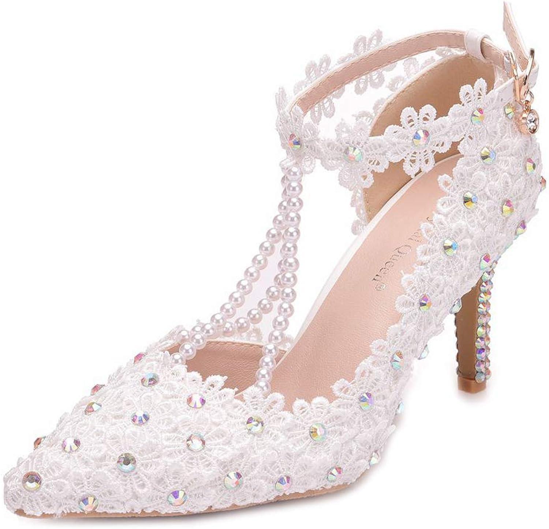 Hochzeit Schuhe weibliche weibliche weibliche Sandalen klar Kristall Quaste Perlen Luxus Spitze Stickerei Spitzen Braut Schuhe  120280