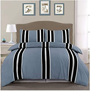 Luxury Brody Stripes Flat Fitted Bedding Sheet Thermal Flannelette Pillow Case Sheet Set (Fitted + Flat Sheet + 2 Pillow Case Grey King)