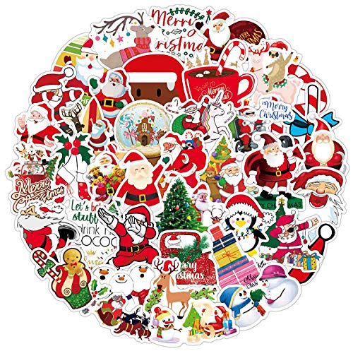 50 Pcs Christmas Stickers, Vinyl Waterproof Xmas Santa Claus Theme Party Favor Stickers for Hydro Flasks Water Bottles Laptop Decals, Ideal Gift for Kids Teens and Adults