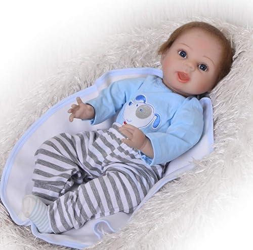 O-YLS Junge Augen Offen Baby Dolls Weißhes Silikon Vinyl Magnetisch Handarbeit Reborn Babys Puppe 22Zoll 55cm