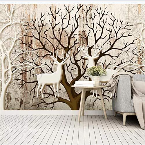BHXIAOBAOZI Eigen 4D muurschildering groot behang, droge boomstam en witte hert, moderne Hd zijde muurschildering poster afbeelding TV sofa achtergrond muur decoratie voor woonkamer 300cm(W)×200cm(H)|9.84×6.56 ft