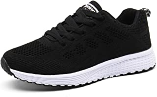 PAMRAY Femmes Baskets de Courses Basses Athletique Marche Filets Chaussures Sport Run Noir Bleu Gris Blanc 35-44