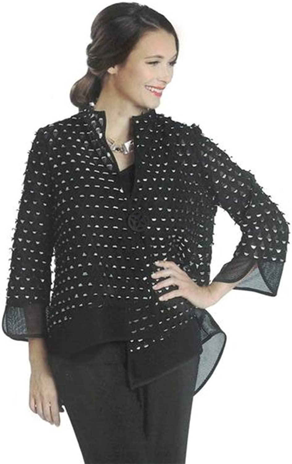 IC Collection Mesh Laser Cut Out Asymmetric Jacket  1130J