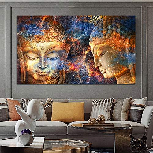 woplmh Buda Dorado Señor Lienzo Abstracto Pintura Buda Lienzo Cartel religioso e impresión Cuadros artísticos de Pared para Sala de Estar Cuadros / 60x100cm-sin Marco