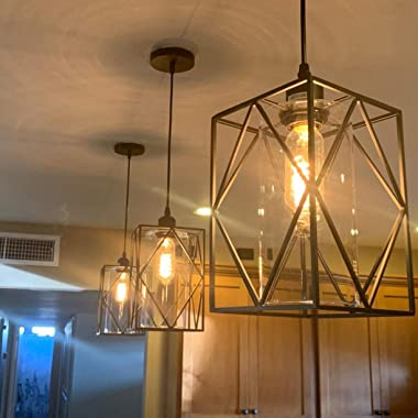 HMVPL Pendant Lighting Fixture, Set of 2 Black Farmhouse Hanging Chandelier Lights with Glass Shade, Mini Industrial Ceiling
