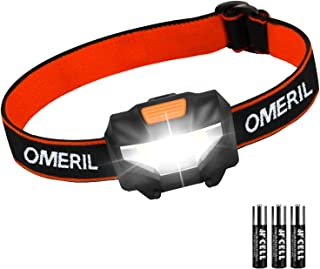 OMERIL Headlamp Flashlight, Super Bright LED Headlamp with 3 Modes, 3 x AAA Battery Operated(Included), Waterproof COB Head Lamp for Kids & Adults, Camping, Hiking, Cycling, Running, Fishing