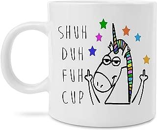 MugBros Funny Unicorn Coffee Mug Shuh Duh Fuh Cup Novelty Funny Gag Gift for Men Women Husband Wife Co Worker