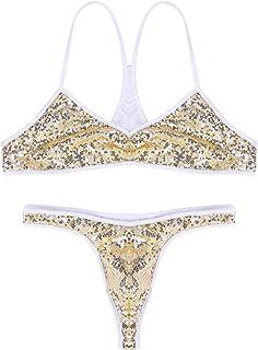 Choomomo Men's Sequin Bralette Bra Tops Thong Sissy Lingerie Set Cross Dresser Nightwear