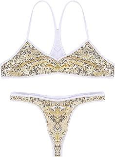 Men's Sequin Bralette Bra Tops Thong Sissy Lingerie Set Crossdress Nightwear