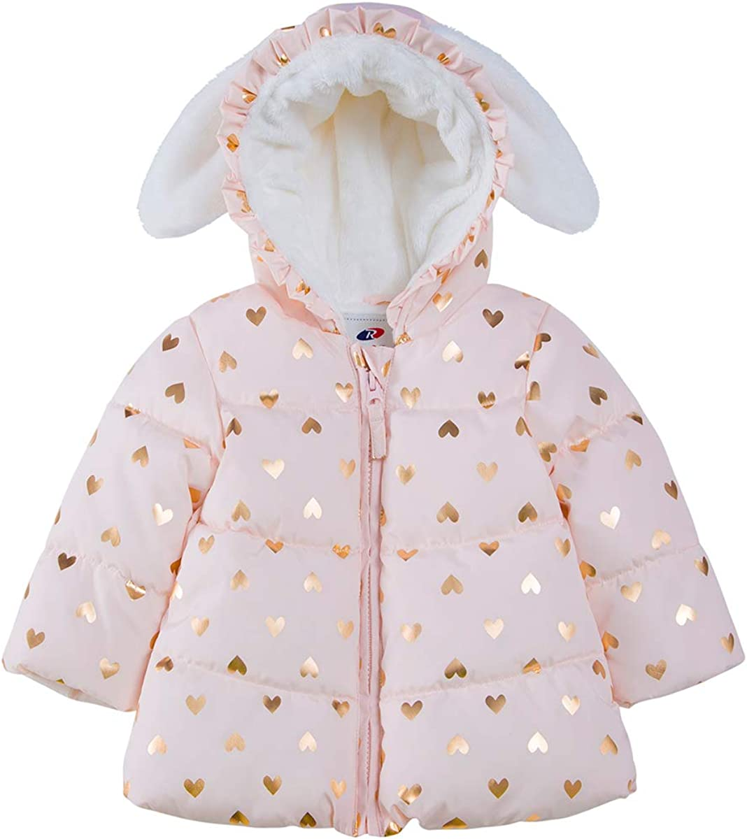 Rokka&Rolla Baby Girls' Water-Resistant Soft Mini Fur Lined Puffer Jacket Coat for Newborn Infant Toddler
