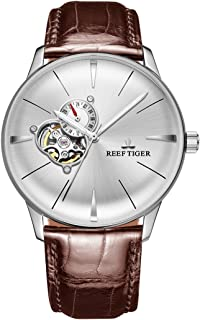 Reef Tiger Dress Watches Convex Lens Watch Men's Steel Automatic Watches Leather Strap RGA8239