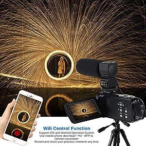 """Videokamera Camcorder WiFi IR Nachtsicht FHD 1080P 30FPS 26MP YouTube Vlogging Kamera Recorder 3""""Touchscreen 16X Digitalzoom Digitalkamera mit Mikrofon, Fernbedienung, 2 Batterien"""