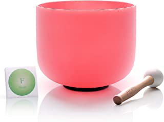 TOPFUND Pink Color Crystal Singing Bowl F Note Heart Chakra 8 inch, O-ring and Suede Striker or Rubber Mallet included