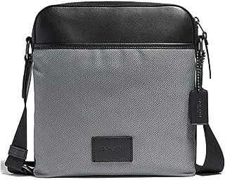 Men's Crossbody Messenger Bag in Nylon w/Smooth Leather Details (F37609) (Heather Grey/Black Antique Nickel)