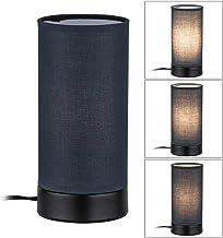 Paulmann 77059 tafellamp Pia max. 25 Watt tafellamp zwart mat woonkamerlamp metaal, stof bedlampje E14