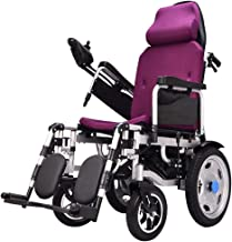 Heavy Duty Electric Wheelchair with Headrest,Folding and Lightweight Portable Powerchair with Seat Belt,Electric Power Or Manual Manipulation,Adjustable Backrest and Pedal Motorized Wheelchairs,Purple