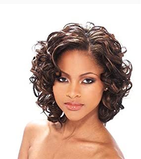 Short Brown Wigs for Women Curly Wavy Fluffy Wigs Heat Resistant Synthetic Wigs African American Wigs with Wig Cap (Brown) YM012