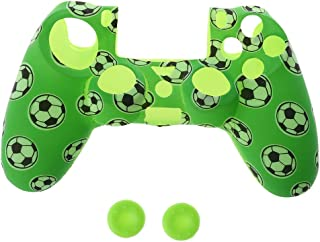 HOWWOH Football Pattern Silicone Gamepad Cover Case + 2 Joystick Cap for PS4 Controller