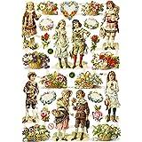 Troqueles Vintage Die-Cuts, hoja 16,5x23,5 cm, niños y flores, 3 hojas