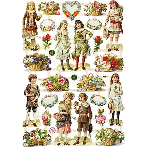 Vintage Stanzformen Bogen 16,5x23,5 cm Kinder Blumen 3 Blatt