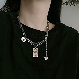 YERTTER Dainty Unique Punk Butterfly Pendant Necklace Chunky Choker Boho Jewelry Set Statement Chunky Necklace for Women Men