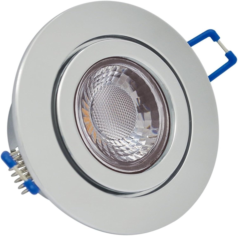 Feinlux 3er 3er 3er Set IP44 LED Einbaustrahler Chrom mit ...