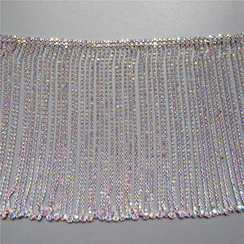 1yard AB Rhinestone Bling Diamante Crystal Chain Diamond Tassel Trim Ribbon Gem Sparkle Wedding Bridal Necklace Prom Evening Dress Applique Party Show Accessories Sash Belt Headwear Craft 14cm Width
