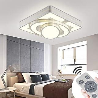 JINPIN – Lámpara de techo, 48 W, 64 W, 78 W, 90 W, panel LED, para salón, dormitorio, ahorro de energía, iluminación interior, Dimmbar, Weiß 48W