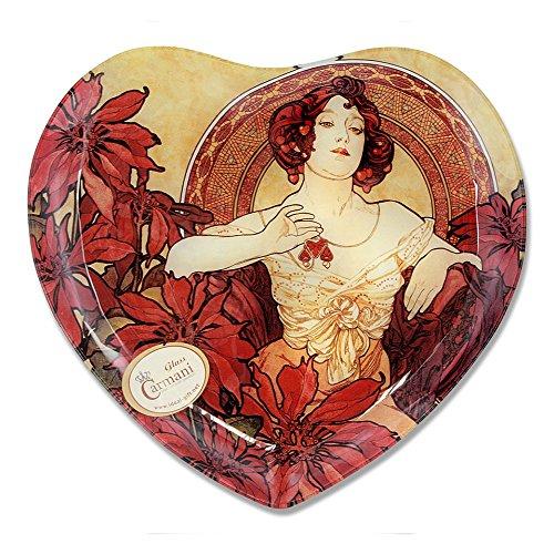 CARMANI - Coeur décoratif en Forme de Plaque imprimé avec la Peinture Mucha, Ruby 25x23cm
