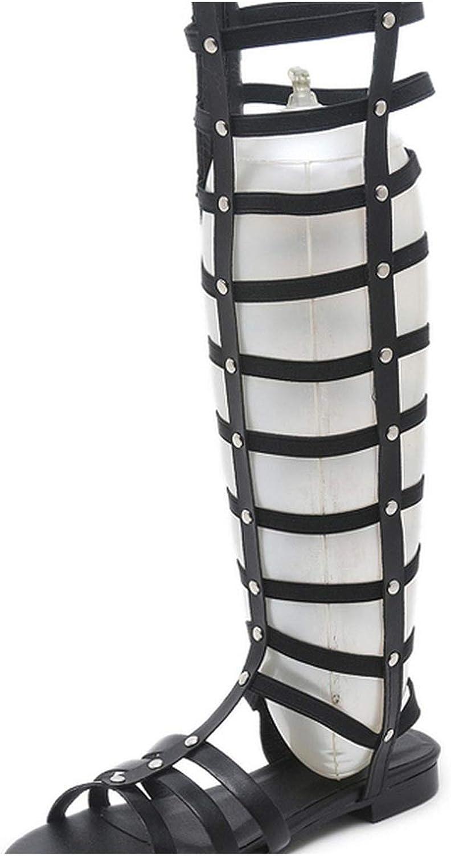 RAINIE002 Women Sandals Open Toe Knee Highsummer Gladiator Flatroman Rivet Casual Boots Sandals shoes Size 35-41
