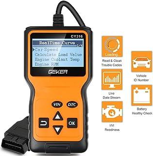 GEKER Auto Diagnóstico Portátil para Coche Escáner de Mano para Vehículos OBD2 Herramienta de Diagnósdigo OBDII Detectar Códigos de Errores Garantiza Conducción Segura