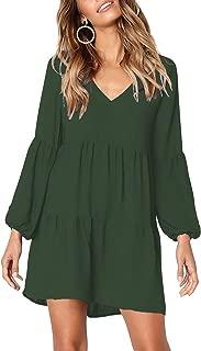 Women's Short Sleeve Tunic Dress V Neck Ruffle Loose Mini Dress Swing Shift Dresses