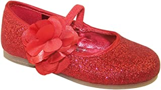Girls' red Glitter Party Shoes with Satin Flower Trim Synthetic Ballet-Flats