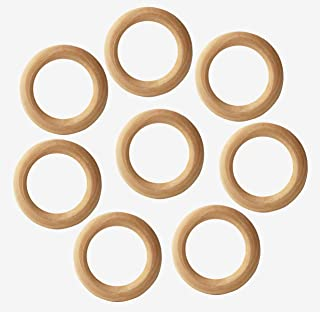Penta Angel Wooden Rings 10Pcs 80mm Natural Unfinished Solid Wood Teething Rings Smooth Wood Circles for DIY Craft Pendant Connectors Jewelry Making (80mm)