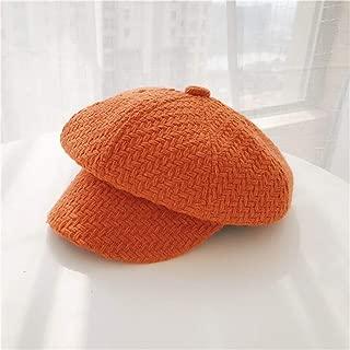 ZiWen Lu Net red Plaid Beret hat Autumn and Winter, Ms. Korean Wild Japanese Soft Sister Bud Cap hat Retro British Star Anise (Color : Orange, Size : One Size)