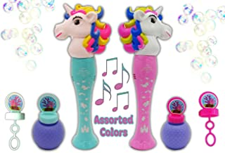 Hoovy Unicorn Bubble Wand Blower Light Up LED Flashing Lights Plays Sounds | Bubble Toys for 2 3 4 5 6 7 Year Old Girl | Bubble Blower for Kids (1 Pack) Color May Vary Blue/Pink