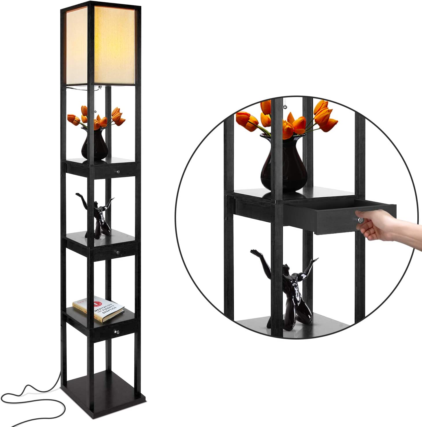Brightech Maxwell 1 year warranty Drawer Edition Surprise price - Shelf LED Combin Lamp Floor