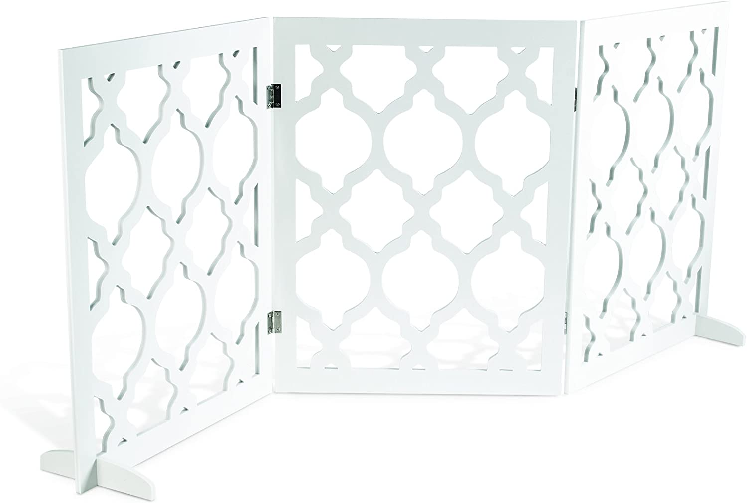 Pet Parade Decorative Pet Gate Indoor & Outdoor Use Opens to 55.5  L x 0.35  W x 24  H When Assembled Includes Feet for Stability Blends in with Home Decor