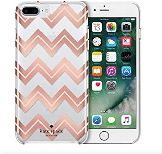 Kate Spade New York Protective Case for iPhone 8 Plus/ 7 Plus/ 6s Plus/ 6 Plus Clear with Metallic Blush Chevron