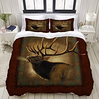 "Mokale Elk Lodge 3 Pieces Bedding Set Double Brushed Microfiber Duvet Cover with 2 Pillow Shams,Zipper Closure,Corner Ties (90""x90"")"